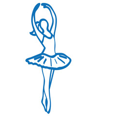 Handgezeichnete Ballerina in dunkelblau