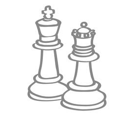 Handgezeichnete Schachfiguren in grau