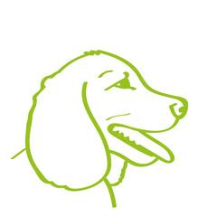 Handgezeichneter Hund in hellgrün