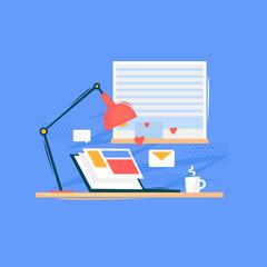 Reading news laptop in the morning. Flat design vector illustration