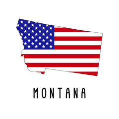 Vector map of Montana painted in the colors American flag. Silhouette or borders of USA state. Isolated vector illustration