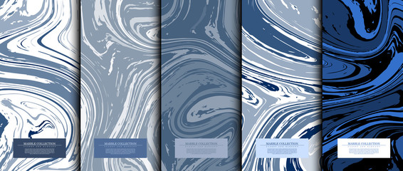 Marble collection abstract liquid pattern texture navy blue background card template vector