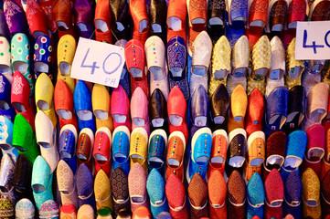 Traditional leather shoe at Fez Medina