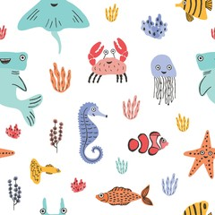 Wall Mural - Colorful seamless pattern with funny marine animals or underwater creatures, corals and seaweed on white background. Backdrop with cute sea and ocean dwellers. Flat cartoon vector illustration.