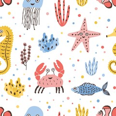 Wall Mural - Colored seamless pattern with happy sea and ocean animals on white background - fish, crab, jellyfish, starfish, seahorse. Childish flat cartoon vector illustration for textile print, wrapping paper.