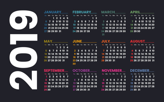 Calendar 2019 vector template. Week starts on Sunday. Colorful grid on a dark background.