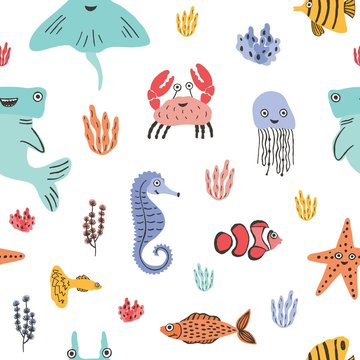 Colorful seamless pattern with funny marine animals or underwater creatures, corals and seaweed on white background