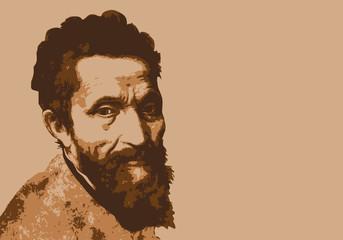 Portrait de Michel Ange, célèbre peintre et sculpteur italien de la renaissance.