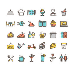 Restaurant Service Signs Color Thin Line Icon Set. Vector