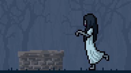 vector pixel art white lady cartoon