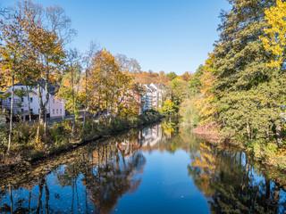 Saale in Hof mit Herbstlicher Spiegelung
