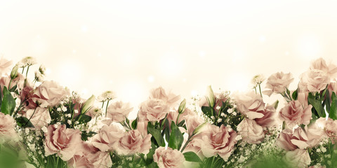 Wall Mural - A bouquet of delicate pink roses, summer flowers. Floral background. Eustoma.