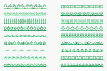 Set of horizontal isolated Green lace borders for design