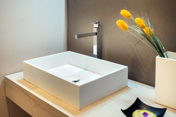 Stylish rectangular hand basin in modern bathroom Fototapete