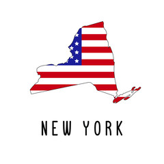 Vector map of New York painted in the colors American flag. Silhouette or borders of USA state. Isolated vector illustration