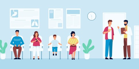 Smiling people sitting in chairs and waiting for doctor's appointment time at hospital. Men and women at physician's office or clinic. Colorful vector illustration in modern flat cartoon style.
