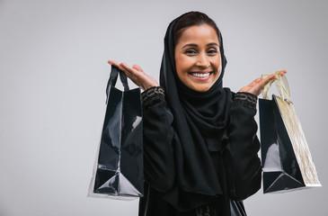 Beautiful middle eastern woman wearing abaja