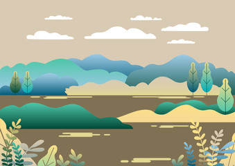 Village landscape in trendy flat and linear style vector illustration. Mountains and hills, lake, flowers and trees, abstract background with copy space for header images for websites, banners, covers