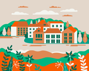 Poster Groene koraal Village landscape flat vector illustration. Buildings, hills, lake, flowers and trees, abstract background for header images for websites, banners, covers