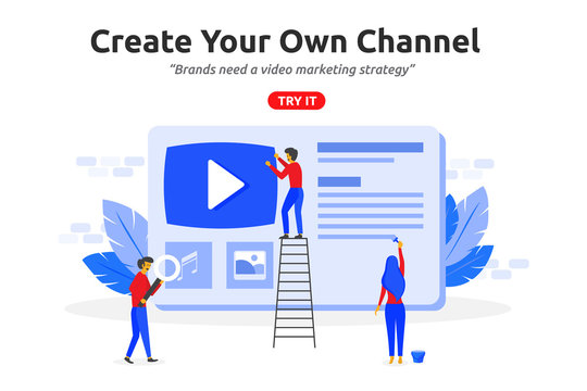 Create online video channel concept modern flat design. Video marketing content