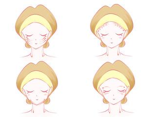 女性美容マッサージ小顔イラスト画像
