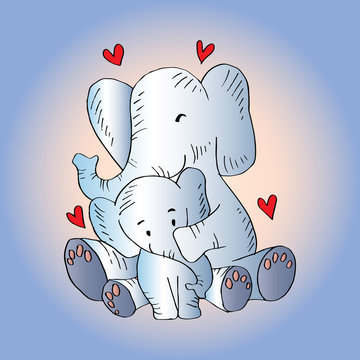 Illustration of elephant mom and baby cute.