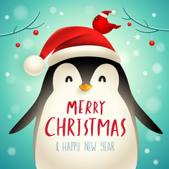 Christmas Cute Little Penguin with Santa's Cap. Christmas cute animal cartoon character.