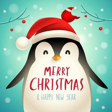 Christmas Cute Little Penguin with Santa's Cap. Christmas cute animal cartoon character.
