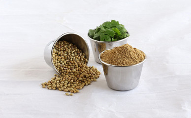 Coriander powder, plucked coriander leaves, and spilled coriander seeds, in steel bowls on a crumpled paper background.