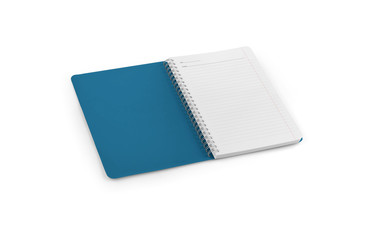 Notebook mockup for your design, image, text or corporate identity details. Vertical blank copybook with metallic silver spiral. Template of organizer or diary isolated on white background.