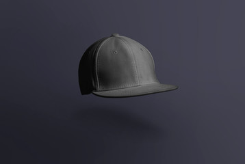 Blank cap in perspective view. Black snapback on dark background. Blank baseball snap back cap for your design. Mock up hat cap for you logo, brand identity etc.
