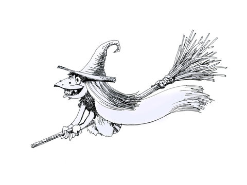 Witch on a broomstick, drawing pen.