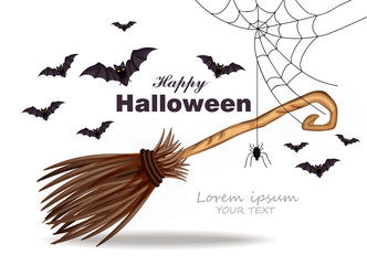 Halloween card with broomstick, bats and spider net decor Vector
