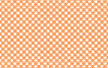 Diagonal Gingham-like table cloth with pumpkin orange and white checks. Symmetrical overlapping stripes in a single solid color against white background, similar to a table cloth or a picnic napkin