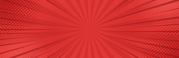 Vintage pop art red background. Banner vector illustration