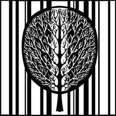 Abstract tree, vector illustration, vintage stylized monochrome drawing. Ornate tree with branches and crown foliage against the background of black and white stripes rectangles. For the design print