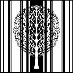 Abstract tree, vector illustration, vintage stylized monochrome drawing. Ornate tree with branches against the background of black and white stripes rectangles. For the design prints, fabrics