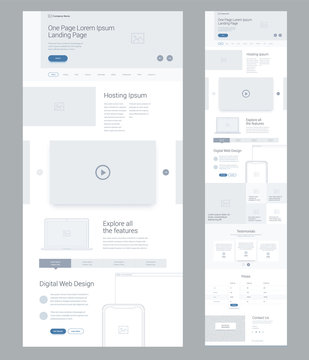 One page website design template for business. Landing page wireframe Digital Web. Flat modern responsive design. Ux ui website: hosting, video, technology, gallery, testimonials, prices, contact us.