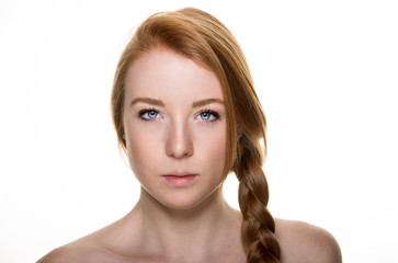 Studio portraits with red hair girl