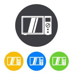 Icono plano microondas en circulo varios colores