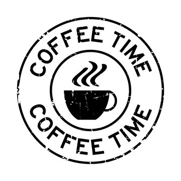 Grunge black coffee time word with cup icon round rubber seal stamp on white background