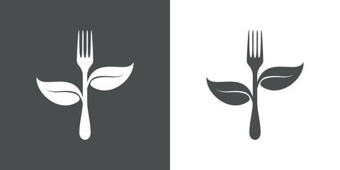Logotipo tenedor con hojas en gris y blanco