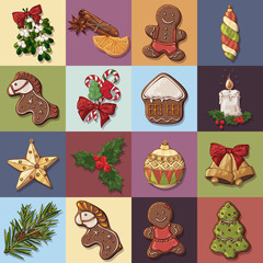 Group of vector colorful illustrations on the Christmas Traditions theme; set of different kinds of New Year symbols and cute festive sweets. For your design, posters, greeting cards, invitations.