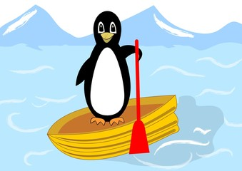 Beautiful penguin floating on a yellow inflatable boat in the Arctic Sea, joyful cute mascot, vector illustration