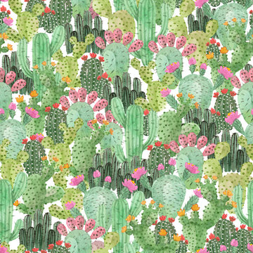 watercolor hand painted cactus. green mexico desert. seamless pattern.