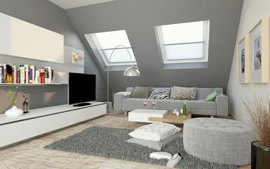 modernes Wohnzimmer im Dachgeschoss