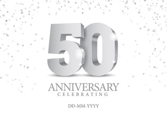 Anniversary 50. silver 3d numbers.