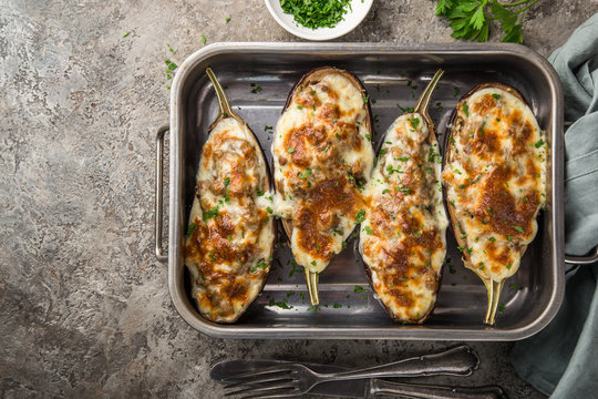 stuffed eggplant with meat, vegetable and cheese