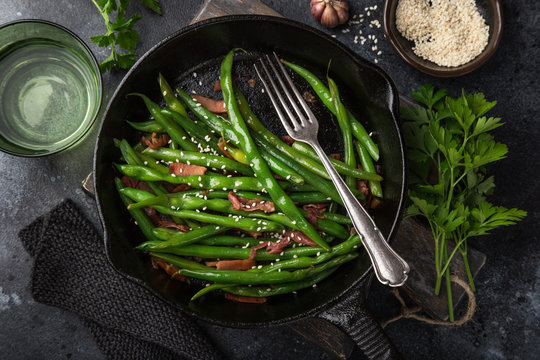 roasted green bean with bacon