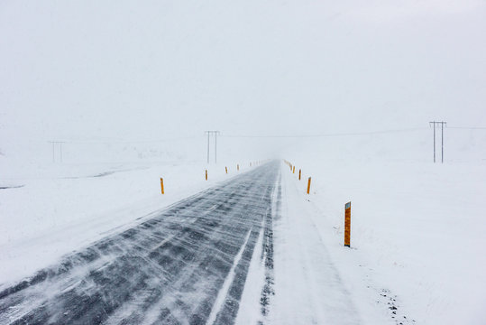 Road in Iceland during Blizzard and white out